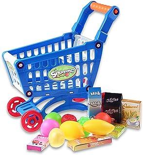 AAGOOD 1 Ajuste Educativo Carrito Juguete Infantil supermercado pequeño Carro de Compras con Plena Alimentos para los niños de los niños Niños Aprendizaje para el Desarrollo - Azul