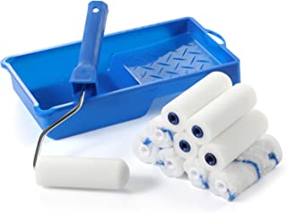 """Foam Paint Roller Kit -Small Paint Tray Set with High-Density Foam Mini Roller Refills, Roller Frame, Paint Tray, 4"""" Micro..."""