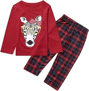 Jeash Merry Christmas Children Kids Cartoon Zebra Printed Casual Top+ Stripe Lattice Pants Xmas Family Clothes Pajamas, Christmas Boys and Girls Sleepwears Sets