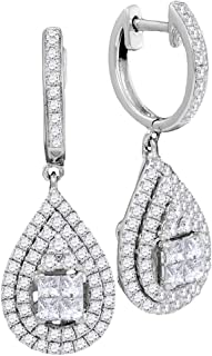 1.20 Carat (ctw) 14K Gold Princess & Round Cut White Diamond Ladies Dangling Drop Earrings 1 1/5 CT