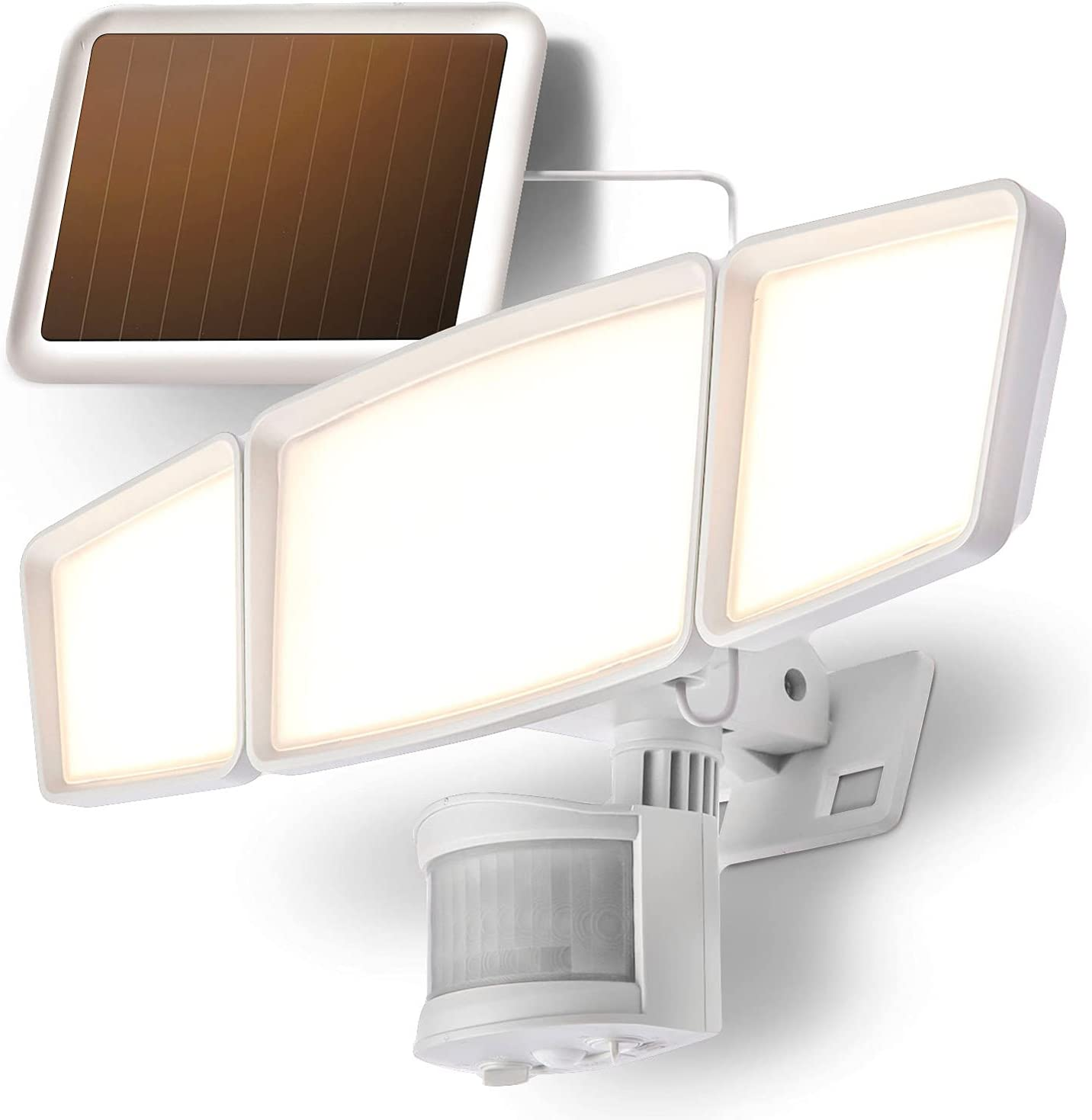 Home Zone Security Solar Flood Lights - Outdoor Motion Sensor LED Flood Light Warm 3500K Color Temperature with No Wiring Required, White