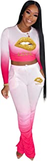 Women's Sweatpants Tracksuit Two Piece, Outfits Tracksuit Jogger Outfit Sweatshirt and Sweatpants Sports Sets,Pink,XXXXL
