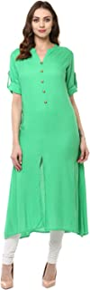 Women's Rayon Regular Fit Kurta (KUR050 GREEN M)