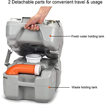 S AFSTAR 5.3 Gallon Portable Toilet Splash-Free Dumping, Anti-Leak Water Pump, Large Capacity Waste Tank with Level Indicator, 3 Way Pistol Flush, Rotating Spout for RV Travel Camping