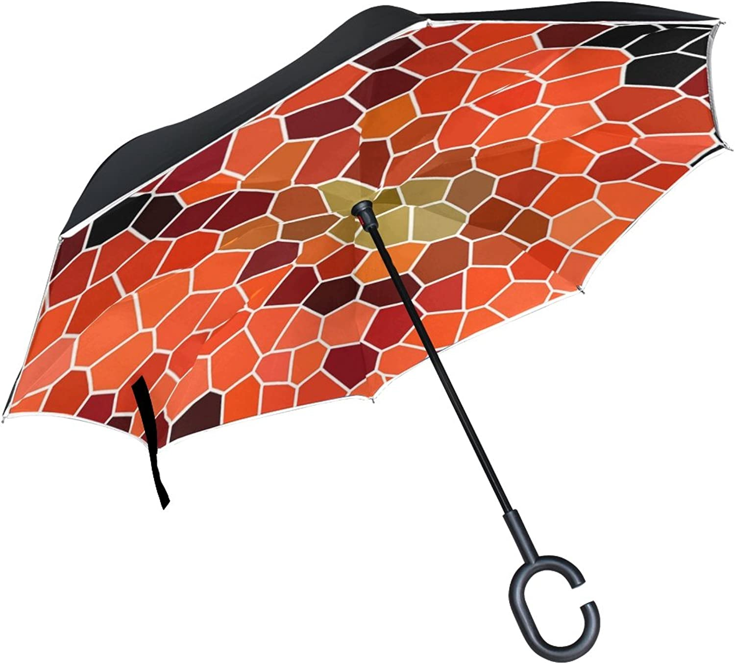 Double Layer Ingreened Mosaic Structure Pattern Texture Umbrellas Reverse Folding Umbrella Windproof Uv Predection Big Straight Umbrella for Car Rain Outdoor with CShaped Handle