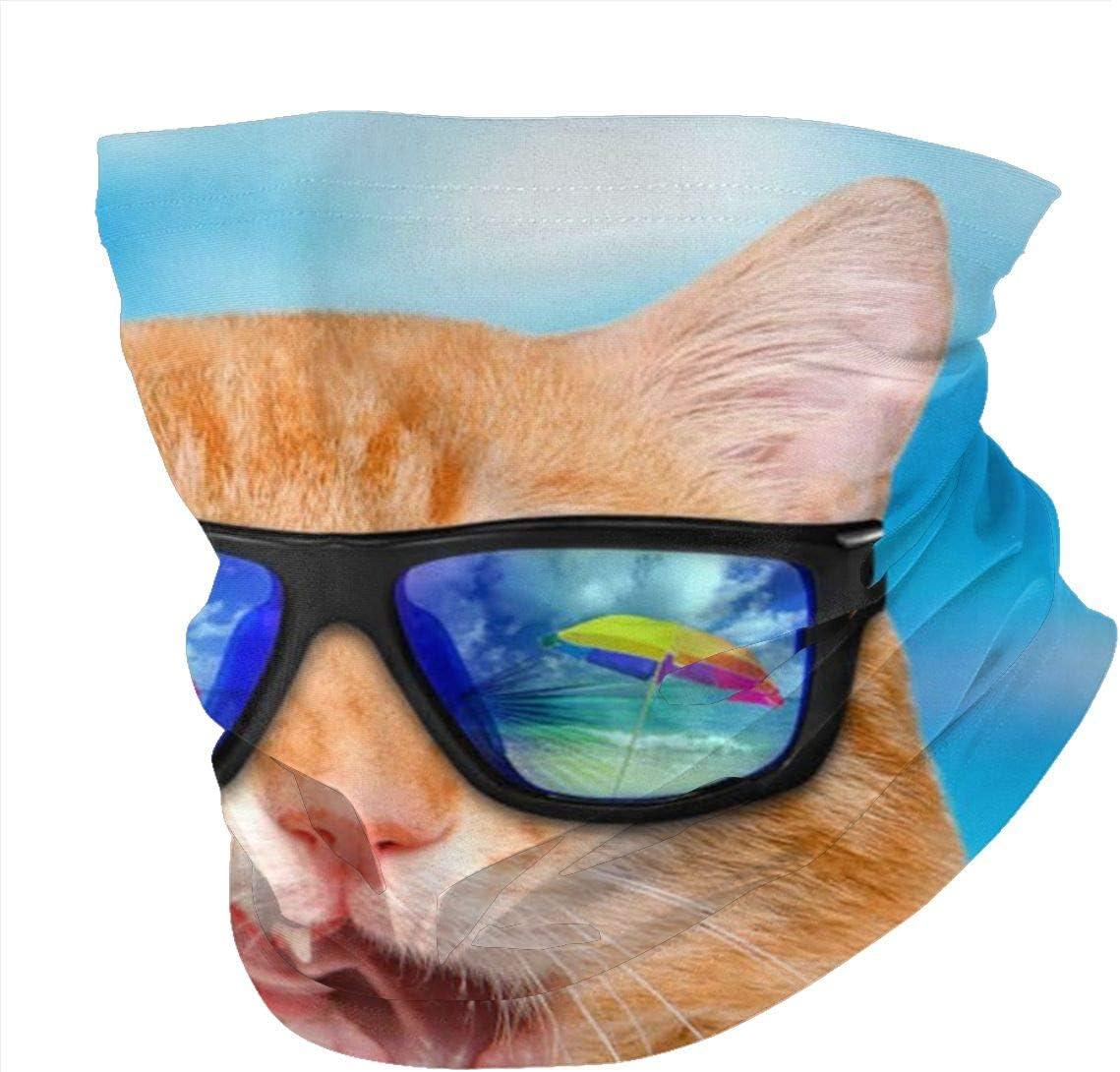 Headwear Face Mask Funny Cat with Sunglasses Beach Casual Headband Bandana Head Wrap Neck Gaiter Scarf