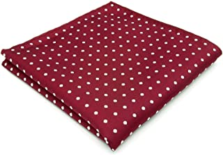 Shlax&Wing Pocket Square Red White Dotty Mens Handkerchief Silk Business Wedding