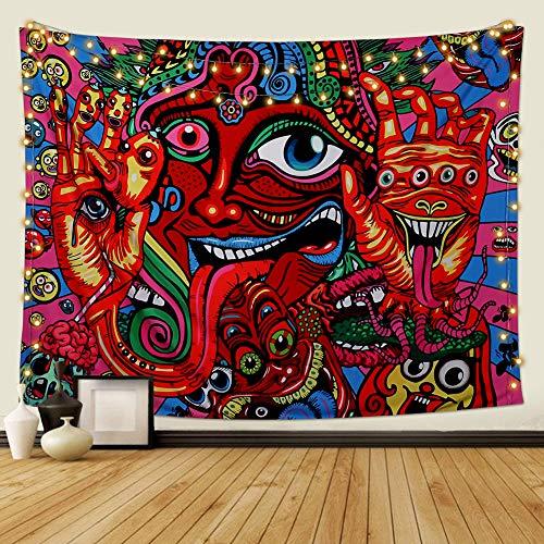 Dremisland Tapiz de Pared Psicodélico Arabesco Mandala Hippie Colgante de Pared Tapices de Patrón Retro Abstracto Tapiz de Fractal Mágico para Dormitorio Sala de Estar(Cara, L / 148 X 200 cm)