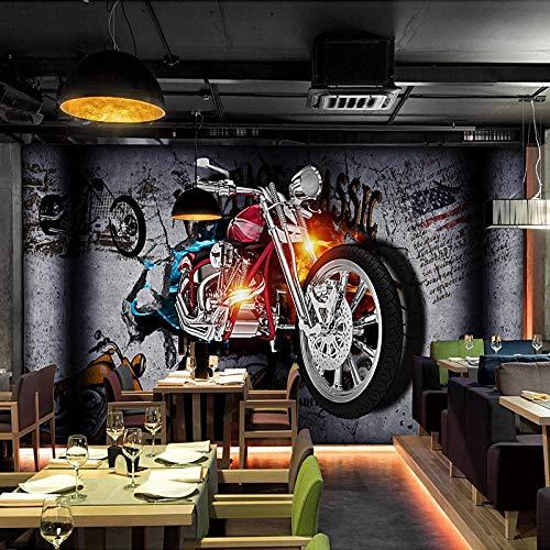 Benutzerdefinierte 3D Wallpaper Retro Motorrad Broken Wall Brick Wandbilder Persönlichkeit Bar KTV Hintergrund Tapeten Vintage-150 * 105cm