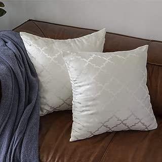 GIGIZAZA White Throw Pillow Covers, 18x18 Square Geometric Silky Throw Pillow Covers, Decorative Sofa Luxury Cushions(White 18x18inch)