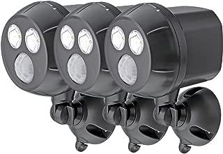 Mr Beams MB393 300-Lumen Weatherproof Wireless Battery Powered LED Ultra Bright Spotlight with Motion Sensor, Brown, 3-Pack