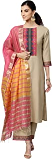 INDO ERA Women's Pure Cotton Straight Palazzo Kurta Set With Dupatta (Beige)