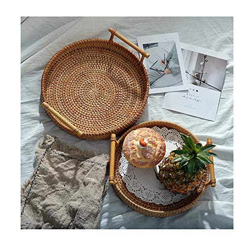 Jiuyue Rattan Handwoven Round High Wall Severing Tray Food Storage Platters Plate Over Handles For Breakfast Drink Snack For Coffee Tea medium 24 * 3cm