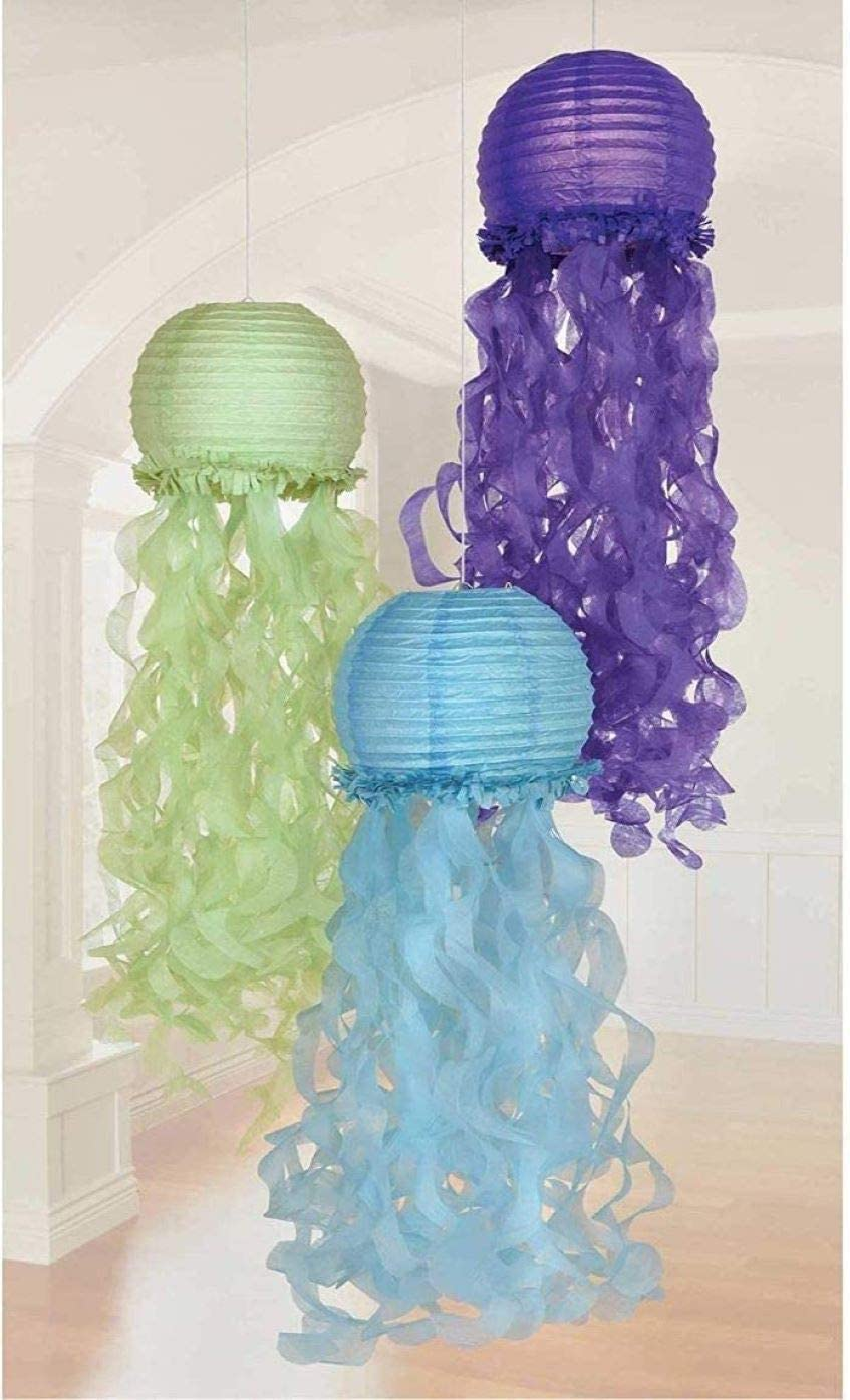 Jelly Fish Paper Lanterns and Mermaid Felt Table Centerpiece Jellyfish Honeycomb Decorations Ocean//Underwater//Under The Sea Baby Shower//Birthday Party Supplies Little Mermaid Girls Birthday Party