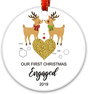 Creawoo Christmas Ceramic Ornament: Our First Christmas Engaged 2019 Xmas Tree Decoration
