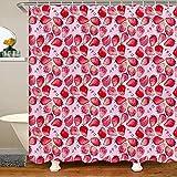 Erdbeer Duschvorhang 180x210 (BxL) Niedliche Kawaii Zimmer Dekor Bad Vorhang für Kinder Mädchen Frauen Japanisch Kawaii Erdbeer Badezimmer Vorhang Süße niedliche rosa Vorhang Sets