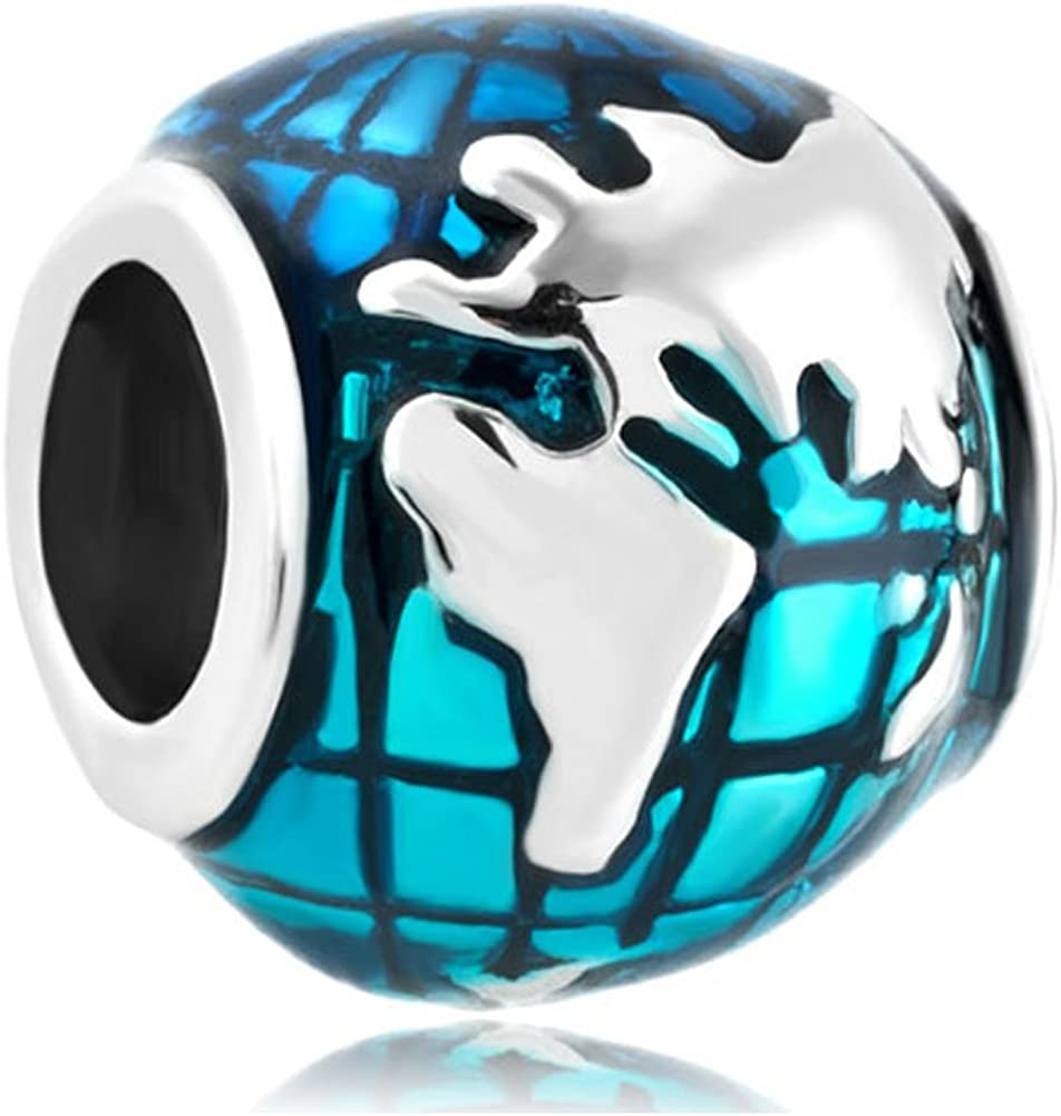 QueenCharms Blue Earth Charm World Map Travel Lover Beads for Bracelets