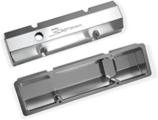 Holley 890010 Aluminum Valve Cover Set Flat Top w/Emissions Port Pair Natural Finish Aluminum Valve Cover Set