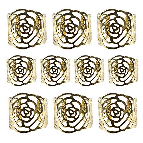 10 Stück Rose Serviettenringe Vintage Metal Serviettenhalter für Hochzeit Taufe Kommunion Graduierung Geburtstag Bankett (Gold)