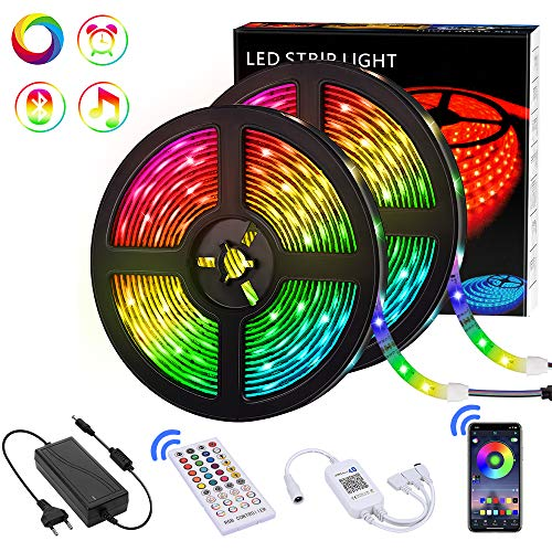 Tiras LED 10M Bluetooth, Teaisiy Tira de LED RGB 5050 Impermeable IP65 con 12V 300LEDS y 40 Botones Control Remoto para Casa, Bar, Fiesta, Restaurante