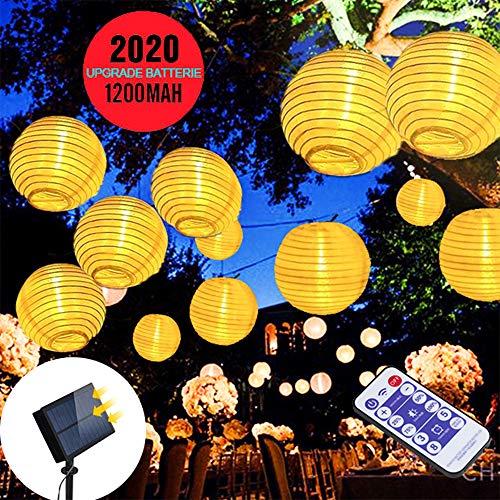 Solar Lichterkette Außen Lampions infinitoo 3M 20er Upgrade hohe Leistung Wasserdicht Warmweiß LED Lampions Laterne Lichterkette, mit Fernbedienung Garten Innen und Außenbereich für sowie Garten
