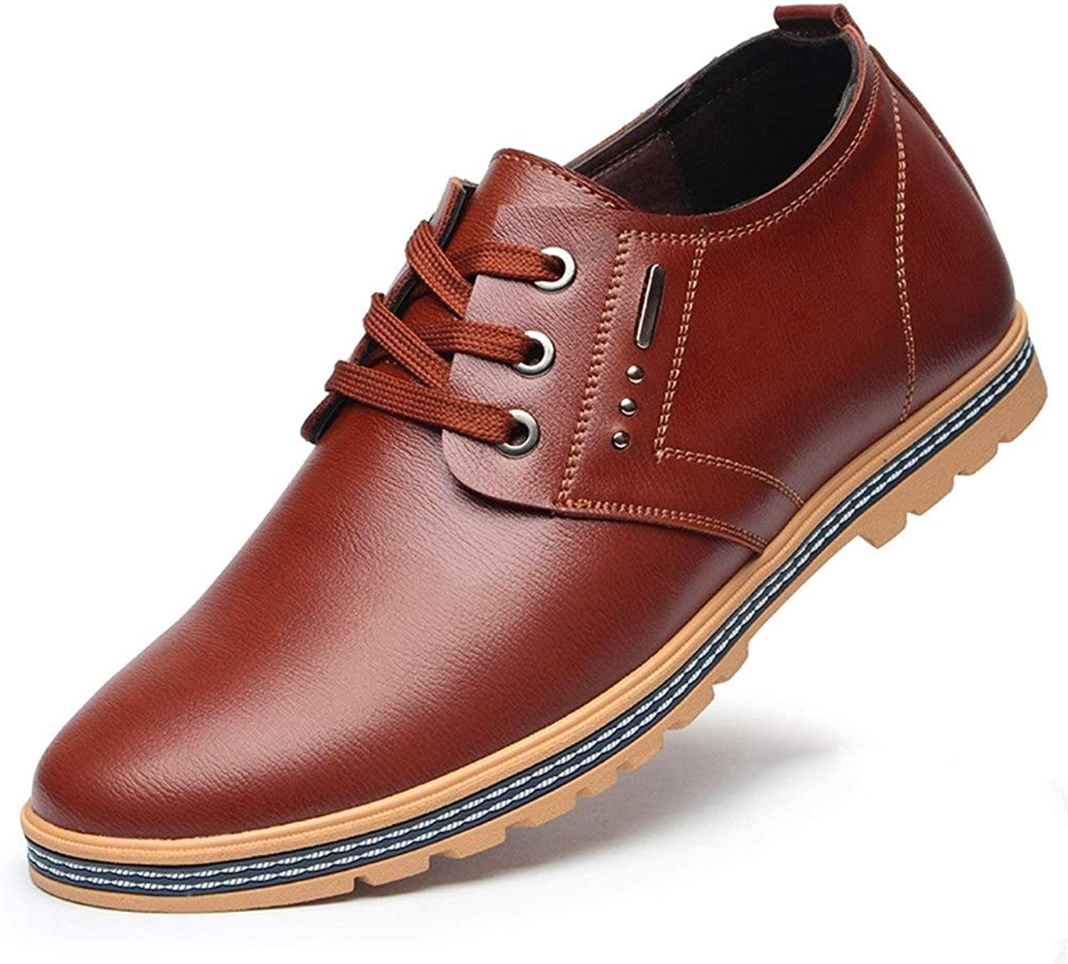 Ino Oxford shoes for Men Schematic shoes Lace Up Style Microfiber Leather Height Increasing Insole Causal Business