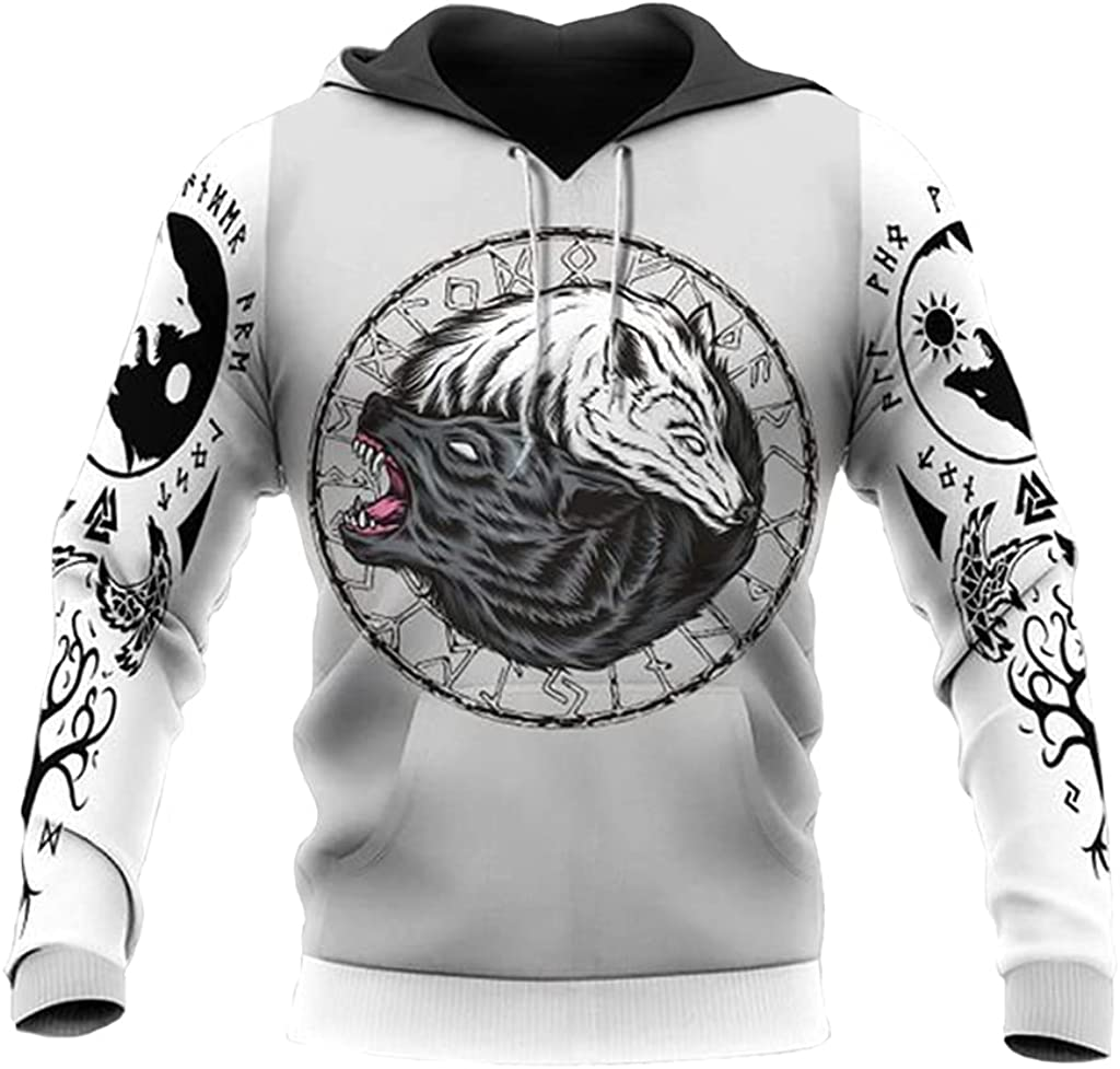 Viking Tattoo Men's Hoodie Nordic Fenrir Wolf 3D Printed Long Sleeve Sweatshirt Fall Fashion Harajuku Street Zip Pullover