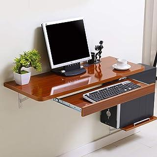 GAXQFEI Présentoirs Table D'Ordinateur de Bureau Murale En Bois Avec Supports En Aluminium Organisateur de Rangement de Bu...