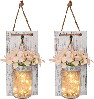 Mason Jar Wall Decor Rustic Wall Sconces with Fairy Light String, Vintage Wrought Iron Hooks,Silk Hydrangea, Decorative Flower for Home Kitchen Dining Room Set of 2