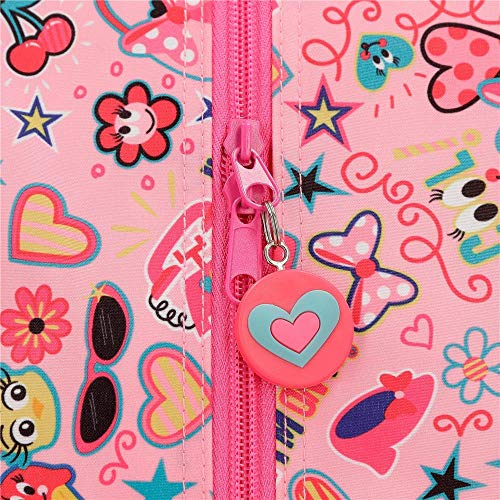 Minnie Stickers Pink Vanity Case Two Compartments