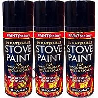 6 x Heat Resistant Matt Black Spray Paint Stove High Temperature 400ML BBQ'S (6)