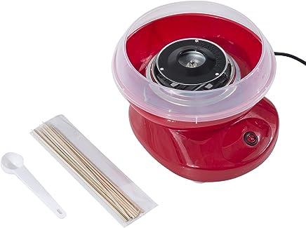 HOMCOM Maquina para Hacer Algodón de Azucar Rojo Aluminio 27x26x18cm
