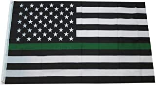 Thin Green Line USA Flag for Army Military Sheriffs Law Enforcement Federal Agents Border Patrol Park Rangers Game Wardens Wildlife Conservation Environment 3x5 FT OD Green Flag