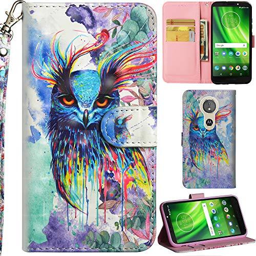 Ooboom Motorola Moto E5/G6 Play Hülle 3D Flip PU Leder Schutzhülle Handy Tasche Hülle Cover Ständer mit Trageschlaufe Magnetverschluss für Motorola Moto E5/G6 Play - Colorful Owl