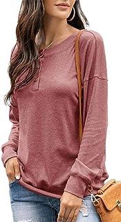 GAGA Women Long Sleeve V Neck Henley Shirts Ribbed Button Down Basic T-Shirt Tee Top