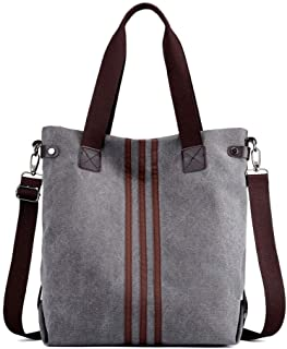 Women Handbag Shoulder Bag Canvas-Vintage Hobo Top Handle Shopping Crossbody Bag Tote Travel Casual Beach Multifunction Bags (Color : Gray, Size : M)