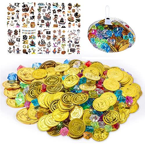 FGen 300PCS Pirate Pièces d'or Enfants Jouets,Pirate Pièces d'or et Bijoux, Jouets Enfants Halloween en Plastique Trésor pour Le Trésor Chasse Jeu Décoration de Fête (F)