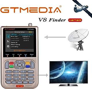 GT MEDIA V8 Sat Finder Meter DVB-S/S2/S2X Localizador de señal de Satélites Digital Medidor de Campo 3.5 LCD Display Ajus...