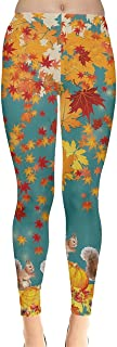 CowCow Womens Brown Fallen Autumn Warm Maple Leaves Leggings, XS-5XL
