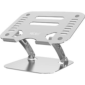 AEOEO ノートパソコン スタンド PCスタンド スタンドラップトップスタンド 折りたたみ式 アルミ合金 軽量 滑り止め 高さ・角度調整可能 ノートpcスタンド 排熱穴 PC/MacBook/ラップトップ/iPad/タブレットなどに対応 パソコン スタンド 20KG耐重 10-17インチに最適