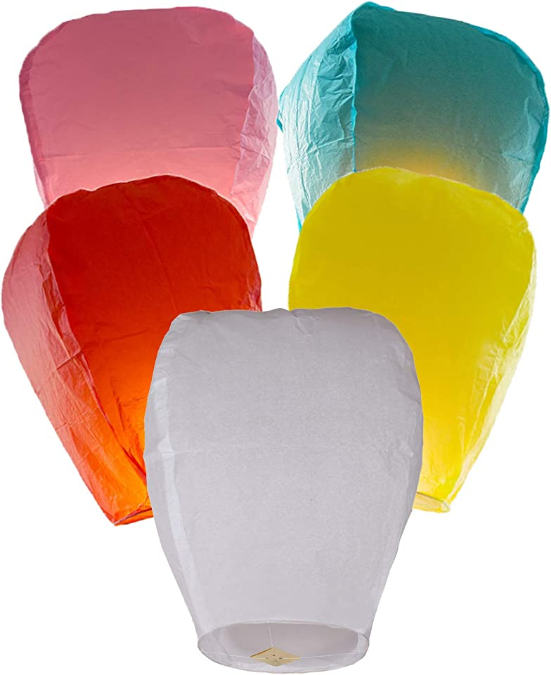 Chinese Flying Lanterns Biodegradable, Chinese Lanterns are Fully Assembled, 5 Pack, Paper Lanterns for Weddings, Anniversaries of a Loved One's Memory Funerals.