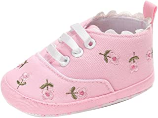 LNGRY Newborn Baby Girls Floral Crib Shoes Soft Sole Anti-Slip Canvas Sneakers