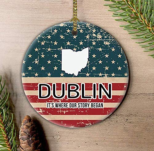 Lplpol Dublin Ohio It's Where Our Story Bega American Flag Patriotic Ornament, 4th of July Independence Day Keepsake 3 Inch Ceramic Ornament Tree Hanging Pendant, HAW1203