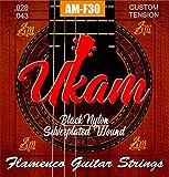 Cuerdas guitarra flamenco UKAM mod.AM-F30 alta calidad (cuerdas de nylon negras) y tres púas ABS colores variados de 0,46mm