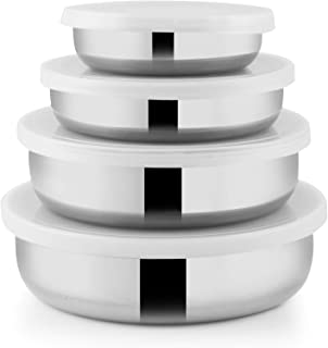 RAJ Steel Container With Lid, 10/12/14/16 cm, RSSP24, 4 Pieces, silver