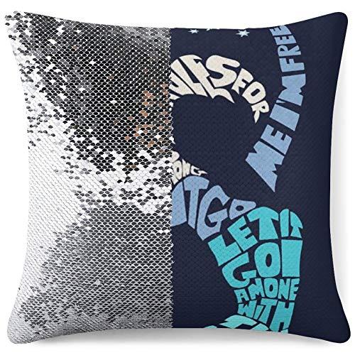 Disney - Federa per cuscino con paillettes, reversibile, con paillettes, motivo sirena magica, cuscino decorativo glitterato, regalo divertente argento-Disney11 taglia unica