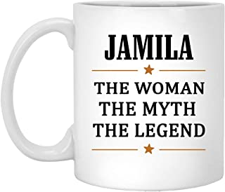 The Woman The Myth The Legend Jamila Coffee Mug Personalized - Anniversary Birthday Christmas Gifts For Jamila Coffee Tea Cups White Ceramic 11 Oz