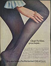 Clingin' the blues, grays, taupes Sears Cling-alon Hosiery ad 1969
