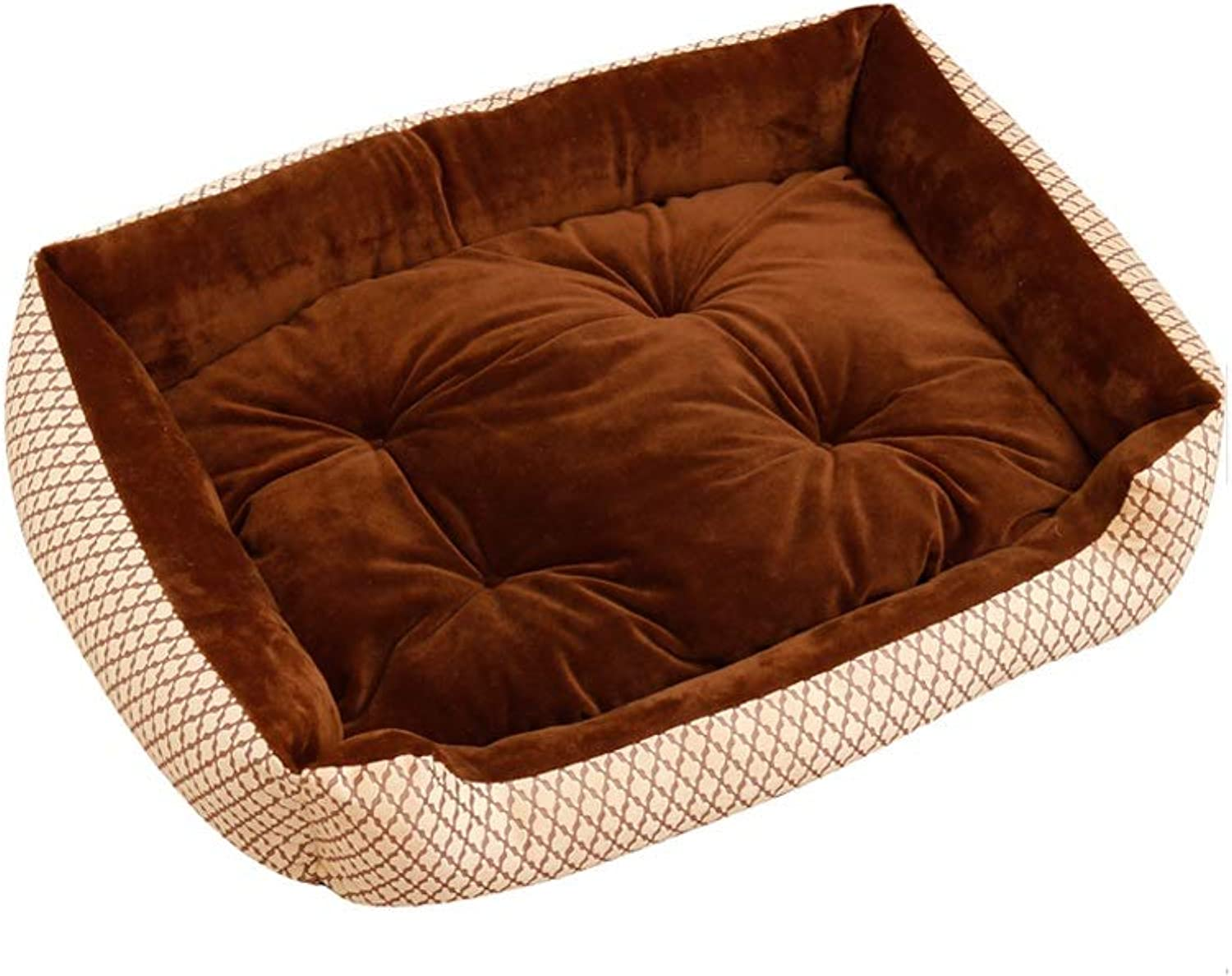 Dog Bed, Cat Dog Universal Pet Bed Four Seasons Available Square Pet Nest Cat Bed, MultiSize (color   B, Size   70 × 55 × 15cm)