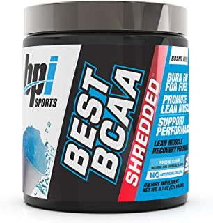 BPI Sports Best BCAA Shredded - Caffeine-Free Thermogenic Recovery Formula - BCAA Powder - Lean Muscle Building - Accelerated Recovery - Weight Loss - Hydration - Snow Cone, 25 Servings, 9.7 Oz